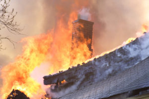 A chimney and house fire