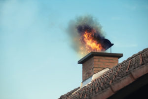 A chimney on fire